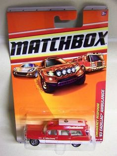 Matchbox 2010 Emergency Response 55 of 100 (Red Over White) '63 Cadillac Ambulance by Mattel. $8.99. Age: 3+. Material: Diecast. Emergency Response # 5 of 8. Scale: 1:64. 2010-2011 Matchbox Cars. EMERGENCY RESPONSE