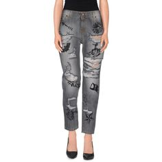 Odi Et Amo Denim Trousers ($35) ❤ liked on Polyvore featuring pants, grey, grey pants, high waisted button pants, denim pants, high-waisted pants and gray pants
