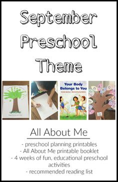 September Preschool Theme - 4 weeks of fun, educational preschool activities and recommended reading list + free preschool planning printables Preschool Lesson Plans, Preschool Education, Preschool Curriculum, Preschool Classroom, Preschool Learning, Preschool Activities, Classroom Ideas, Preschool Theme Units, Preschool Family Theme