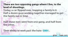 There are two opposing gangs where I live, to the level of shootings.