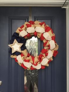 A personal favorite from my Etsy shop https://www.etsy.com/listing/234013977/patriotic-burlap-wreath