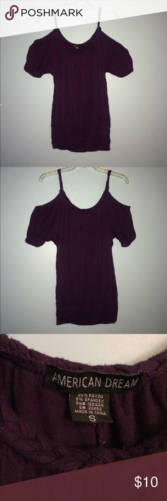 Dark Purple Off The Shoulder Top Royal dark purple off the shoulder top with braided spaghetti strap detail that continues around neckline. Comfortable flowy fit. Size small but could easily fit a medium. In great condition. Charlotte Russe Tops Camisoles