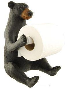 "Black Bear ""Sit-Up"" Toilet Paper Holder Cabin Bathroom Decor, Cabin Bathrooms, White Bathroom Decor, Grey Home Decor, Hello Kitty Bathroom, Bathroom Toilet Paper Holders, Gray And White Bathroom, Bear Decor, Black Bear"