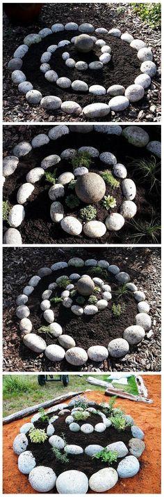 Rock garden~love the Herb/Plant Spiral!