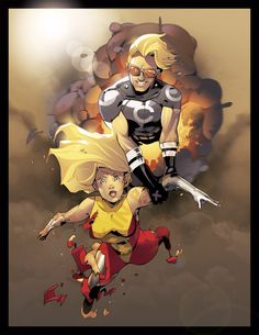 Cannonball and Husk by Luis Laczky Marvel Villains, Marvel X, Marvel Characters, Cannonball Marvel, The New Mutants, Comic Books Art, Book Art, Comic Artist, X Men