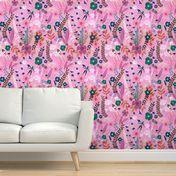 "32"" Women with Flowers - Pink - Spoonflower Pink Wallpaper Roll, Perfect Wallpaper, Custom Wallpaper, Design 24, Textured Walls, Bedroom Wall, Spoonflower, Flowers, Prints"