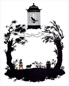 """Georgii Ivanovich Narbut, ilustración de """"El ruiseñor"""", 1912. http://www.yekibud.es/2013/11/27/los-cuentos-de-hans-christian-andersen/"""