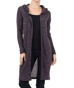 This Purple Ribbed Hoodie Open Cardigan is perfect! #zulilyfinds