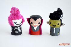 Figuras de Halloween con corchos de botellas.