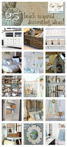Beach Inspiration for your Home DIY:: Beautiful Beach Inspired Decor Ideas for your Home -I Love These ! So many fabulous Spring/Summer Budget Decor -Perfect Update Projects! by Bryant Bryant Bryant Bryant Bryant Bryant Dewey Generations One Coastal Bedrooms, Coastal Homes, Coastal Decor, Seaside Decor, Coastal Style, Coastal Cottage, Coastal Furniture, Handmade Furniture, Beach Cottage Style