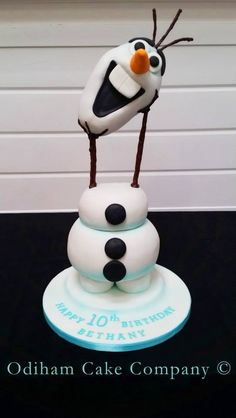 OCC - Im a happy snowman. Chocolate Olaf cake for Bethany's 10th Birthday. #Olaf #frozen #snowman #cake