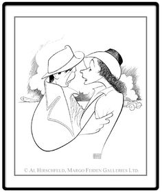"Casablanca: Humphrey Bogart and Ingrid Bergman Hand signed by Al Hirschfeld Limited-Edition Lithograph Edition Size: 250. 23"" x 20"""