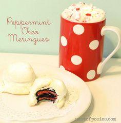 Peppermint Oreo Meringues