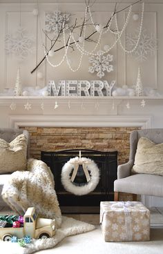 My holiday mantel wouldn't be complete without this MERRY marquee sign, sweet truck, snowflake garland, comfy chairs, soft accent rug, and lots of fur from Home Goods! It's a winter wonderland! {Sponsored}