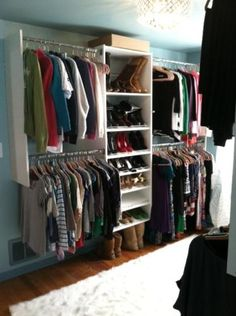 Small room converted to walk in closet - left side