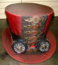 Steampunked top hat, with goggles!