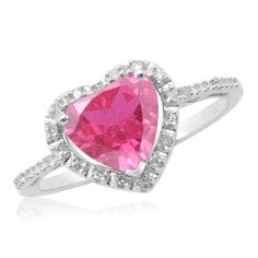 Amazon.com: Sterling Silver Created Pink Sapphire Diamond Heart Ring (1/15 cttw, J-K Color, I2-I3 Clarity): Jewelry
