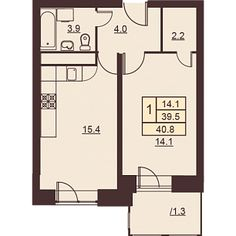 1 комната 40.8 м²