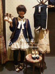 2013最新款 日本原单 axes femme 雪纺长袖拼接假2件 森女连衣裙-淘宝网