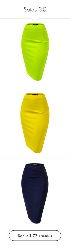 """Saias 3.0"" by angel-grey ❤ liked on Polyvore featuring skirts, elastic waist skirt, green pencil skirt, pencil skirt, elastic waistband skirt, knee length pencil skirt, yellow pencil skirt, yellow skirt, elastic waist pencil skirt and blue pencil skirt"