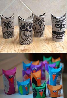 Cute owl toilet paper rolls: