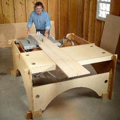 DIY Table Saw Table  Build this take-down table saw table to make the perfect work station for a DIYer with limited garage space.