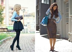 it-yourself-jeans-moda-street-style-como-usar-How-to-wear-a-denim-skirt-chic-leather-skirt-full-skirt-pumps