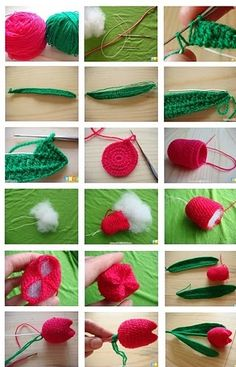 knitting and crochet: Crocheted red tulips with pictured steps      ♪ ♪ ... #inspiration_crochet #diy GB