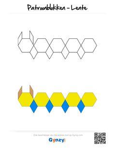 Deze patronen passen in het thema Lente. Elk patroon is beschikbaar met of zonder kleur, zodat je zelf de moeilijkheidsgraad kunt kiezen. Pattern Block Templates, Pattern Blocks, Math Worksheets, Anastasia, Lesson Plans, How To Plan, Logos, Preschool, Logo