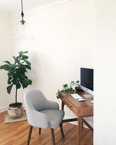 Mid-Century Mini Desk – Acorn – Home Office Design On A Budget Home Office Simples, Cozy Home Office, Home Office Space, Home Office Design, Home Office Decor, Small Bedroom Office, Apartment Office, Style At Home, Mini Desk