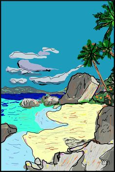 Beach  by J. F. Jennings  2014 beach, sand, ocean, palms, trees, peace, tranquility
