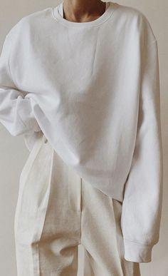 H&M Menswear White Sweatshirt , Emi Mess Deep V T-Shirt, White Linen Trousers Minimal Outfit, Minimal Fashion, Love Fashion, Fashion Outfits, Womens Fashion, Fashion Tips, Minimal Clothing, Minimal Style, Classy Fashion