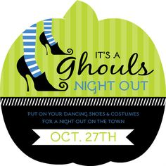 Green And Blue Halloween Party Invite by PurpleTrail.com.