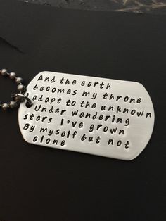 Metallica- Wherever I May Roam Lyrics -Hand Stamped Dog Tag Necklace or Key Chain-And The Earth Becomes My Throne- Heavy Metal Band by HeavensFeathers on Etsy