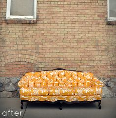 I love classic furniture reupholstered with fun modern fabric.