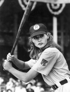 Two Pieces of Advice from Geena Davis for Hollywood! For every one female character, there are three male characters. And, as the research further notes, the boys also have more speaking parts. of characters in crowd scenes are female. Hollywood, Movie Stars, Movie Tv, Movie Scene, Divas, Baseball Movies, Baseball Gifts, Super Heroine, No Crying In Baseball