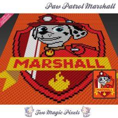 Paw Patrol Marshall c2c Crochet $3.99 Graph Pattern