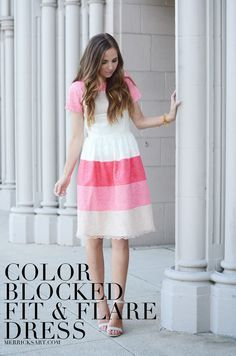 Color Blocked Fit and Flare Dress   Merrick's Art