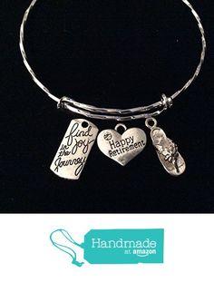 Envious Gems Happy Retirement Silver Tone Expandable Wire Bracelet