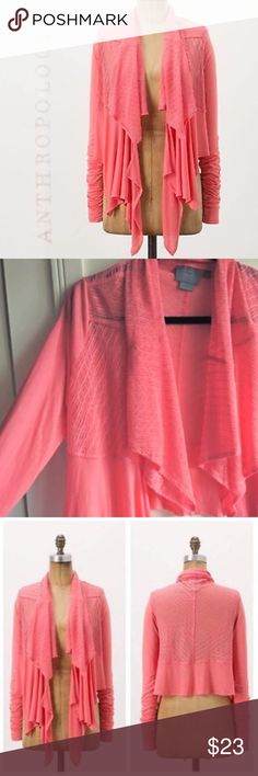 ANTHROPOLOGIE cascading cardigan Gorgeous coral cardigan! Far too much fabric for its own good!! Makes it drape and lay beautifully! Lovely open weave. Lightweight. Brand is Vanessa Virginia from Anthropologie. EUC. Not a sweater. Anthropologie Tops Blouses