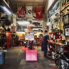 At the shop, crane motorcycle and repair shop
