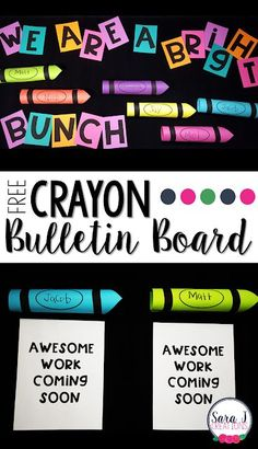 FREE crayon bulletin board template! This bulletin is a creative and colorful way to display your students work. #bulletinboard #teacherhack #classroomdecor