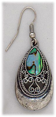 Simply Whispers hypoallergenic and nickel free Jewelry Pierced earrings silver French hook antique silver and shell teardrop