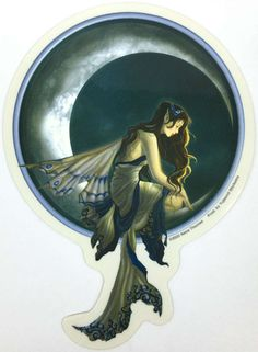Memory Fairy on a Crescent Moon by Nene Thomas Decal Sticker
