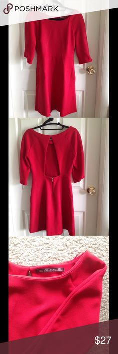 Red Zara dress with keyhole back This short red Zara dress is fire!!!! It's so classy yet sexy with a keyhole back feature. I would describe the color as similar to Macs Russian red, which makes it flattering for all skin tones. It's a large but good for size 4-6. Zara Dresses Mini