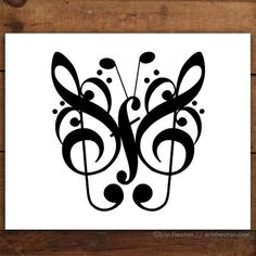 This butterfly is created entirely with music notes and symbols. Archival quality fine art print is printed in deep black on bright white, acid-free, 100% cotton rag 64lb fine art paper, and is availa