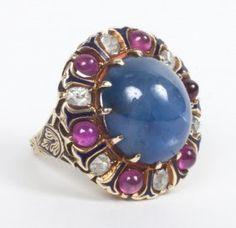 Victorian Star Sapphire, Ruby & Diamond Ring