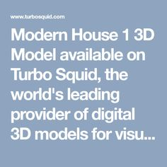 Modern House 1 3D Model available on Turbo Squid, the world's leading provider of digital 3D models for visualization, films, television, and games.