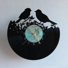 Handcarved birds silhouette vinyl record clock by TikalTextiles Record Decor, Vinyl Record Crafts, Vinyl Record Clock, Record Art, Vinyl Art, Vinyl Records, Handmade Clocks, Silhouette Vinyl, Wooden Clock