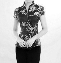 Qipao Style Coat by zeniche Blouse Styles, Blouse Designs, Batik Fashion, Batik Dress, Cheongsam, Ao Dai, Stylish Dresses, Fashion Outfits, Womens Fashion